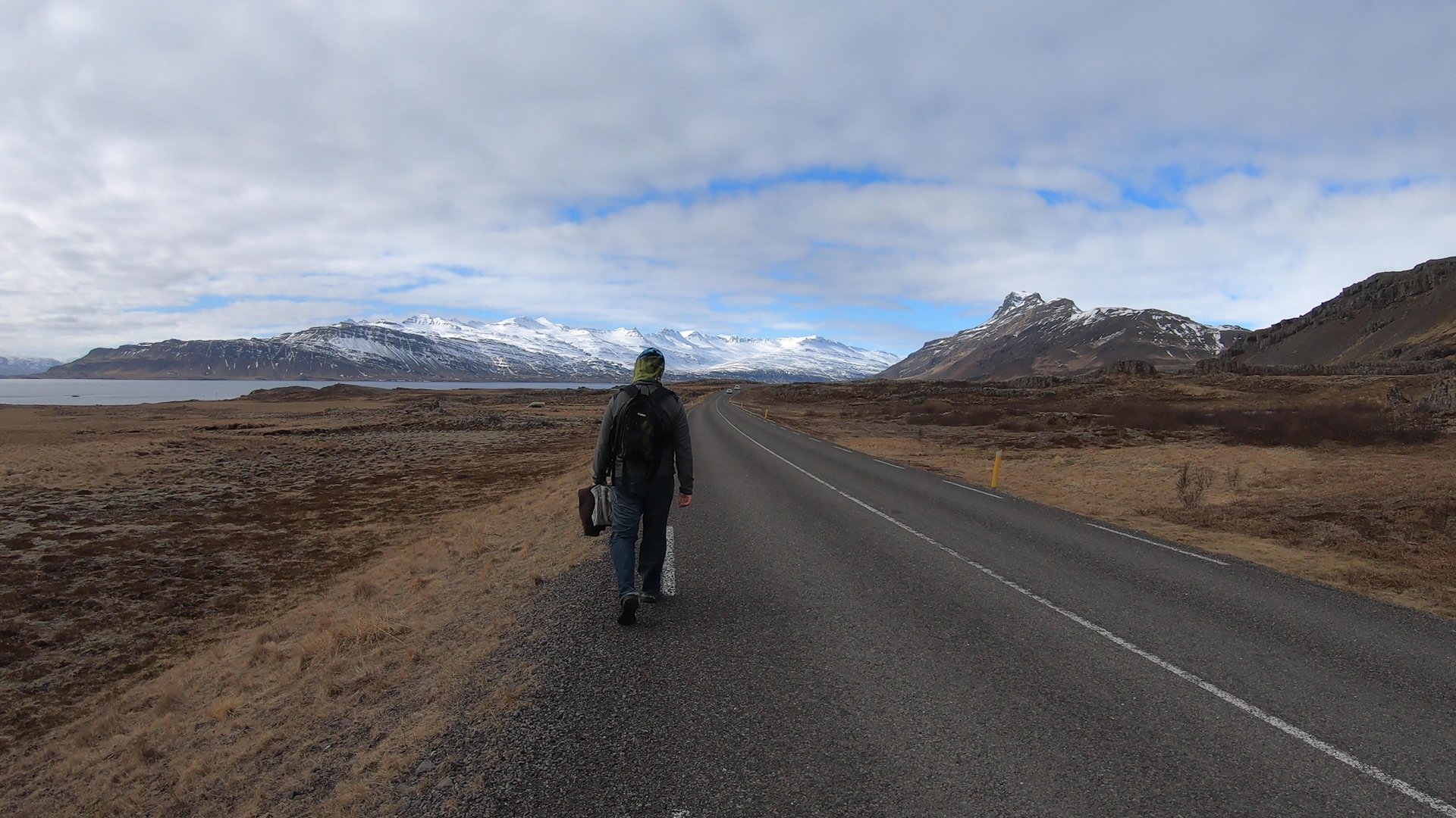 Walking on Ring Road in the east fjords